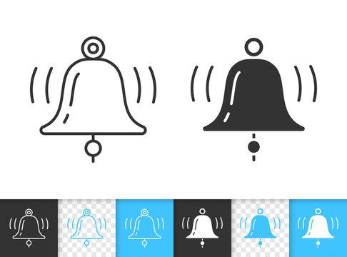 Bell alarm notification simple line vector icon