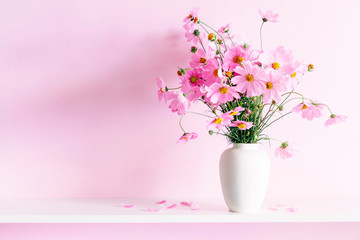 Obraz Fresh summer bouquet of pink cosmos flowers in white vase on white wood shelf on pink wall background. Floral home decor. - fototapety do salonu