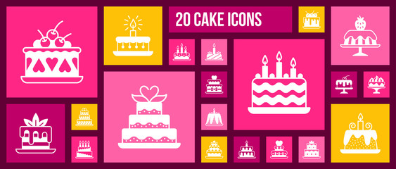 Birthday Cake dessert pie white icon vector set