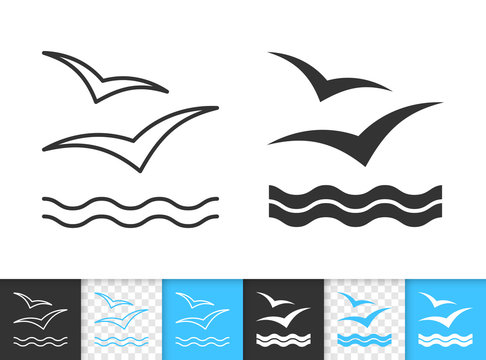 Wave seagull sea simple thin line vector icon