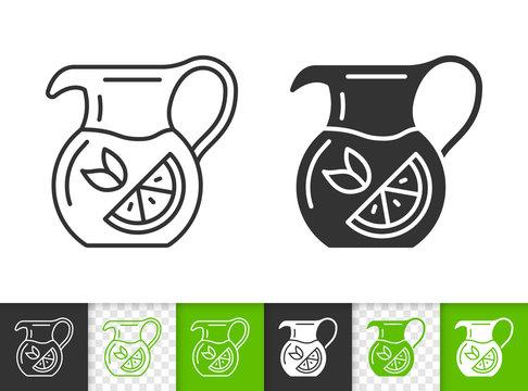 Jug pitcher tea simple black line vector icon
