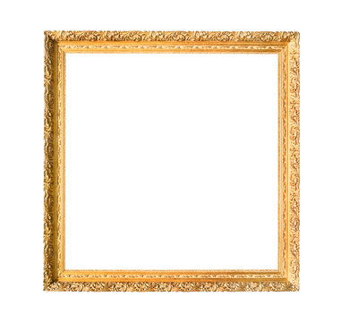 square carved narrow wooden painting frame