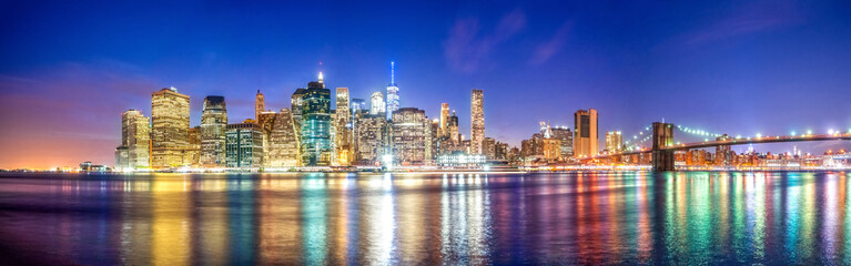 Skyline of Manhattan Downtown at blue hour, New York City, USA Wall mural