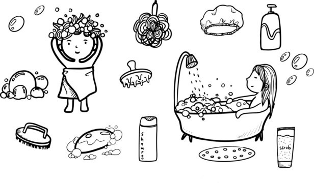 cute hand draw doodle art illustration in shower theme