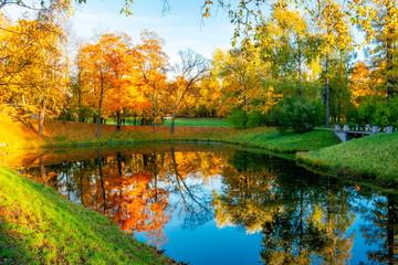 Catherine park in autumn, Tsarskoe Selo (Pushkin), St. Petersburg, Russia