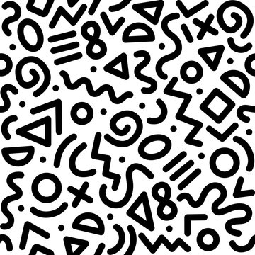 Seamless black and white geometric pattern. Hipster Memphis style.