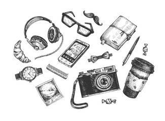 hipster objects set