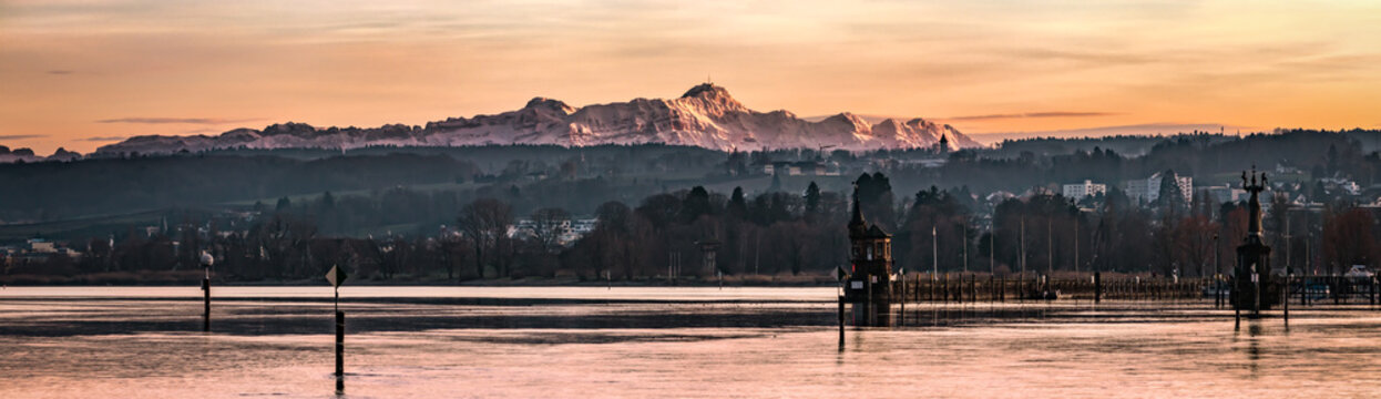 Saentis at sunset with lake constance