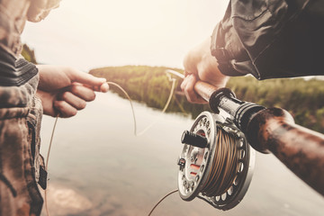 Poster Peche Fisherman using rod fly fishing in river