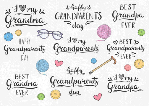 Happy Grandparents Day, Best Granpa, I love you Grandma. Lettering
