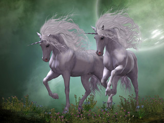 Moonlight Unicorns - Two Unicorn stallions prance around blue and pink flowers as moonlight shines down on them.