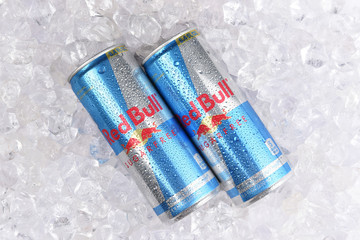 IRVINE, CALIFORNIA - AUGUST 19, 2019: Two Red Bull Sugar Free Energy Drink cans in ice.