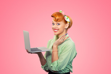 Surprised girl with computer