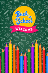 Back to school card color pencils on chalk board