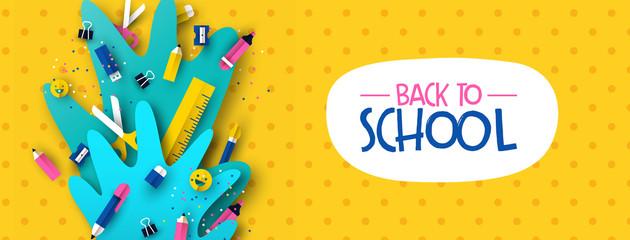 Fototapeta Back to school banner fun kids papercut supplies obraz