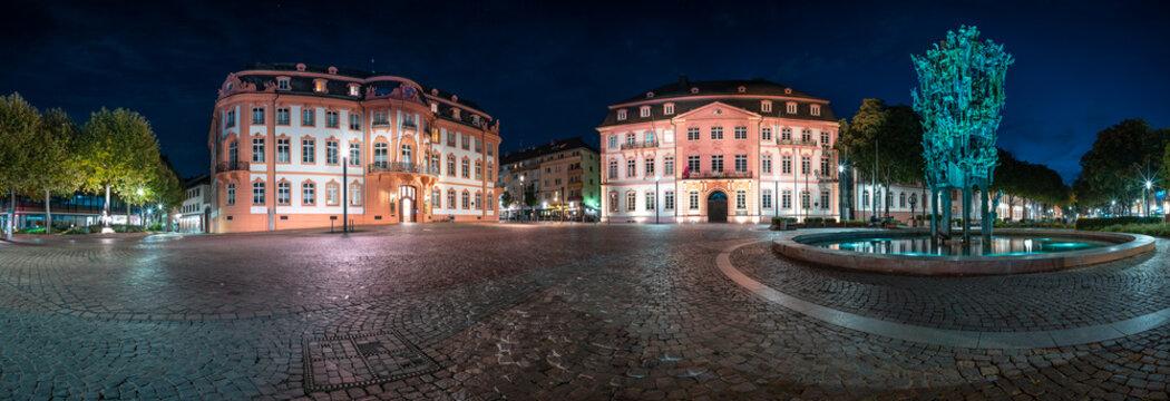 Nachtpanorama Schillerplatz Mainz