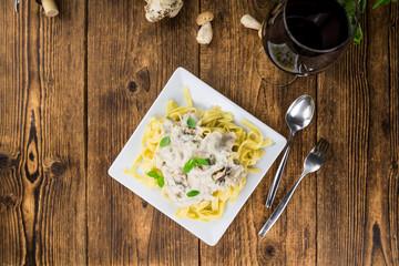 Porcini pasta close-up shot, selective focus