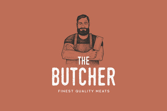 Hand drawing of man butcher in retro engraving style. Template of emblem or logo for grill restaurant, menu of steak house, for packaging in markets and in stores. Vector vintage illustration.