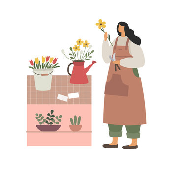 The girl makes a bouquet of flowers. Florist works in his shop. A young woman at the counter, draws up flower arrangements. Vector illustration in trendy flat style.