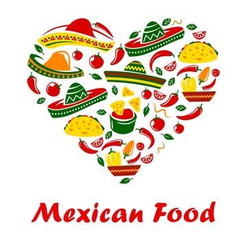 Mexican cuisine food heart, Mexico restaurant menu