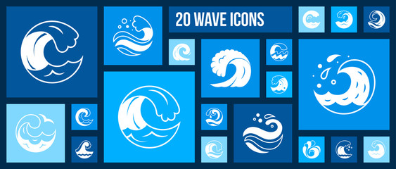 Water Wave sea splash shape white icon vector set Wall mural