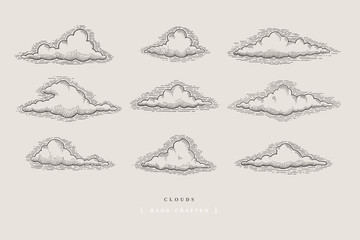 Set of graphically hand drawn clouds on light background. Clouds of various shapes in retro engraving style. Vector vintage illustration.