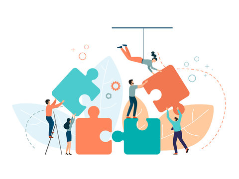 Business concept. People connecting puzzle elements. Symbol of teamwork, partnership, cooperation. Vector isolate on a white background in trend color.