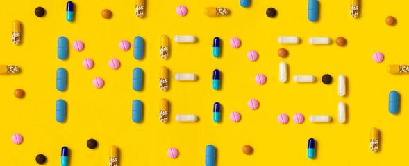 The word Meds written by pills