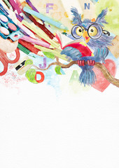 Back to school. Watercolor background with owl