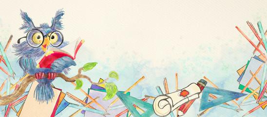 Watercolor school banner with owl - fototapety na wymiar