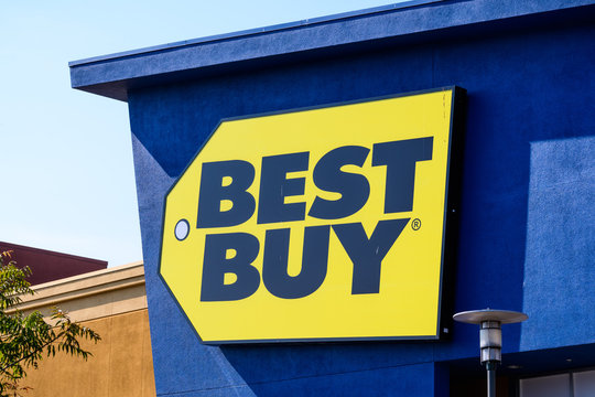 August 19, 2018 Mountain View / CA / USA - Close up of Best Buy logo displayed on the front of a store located in south San Francisco bay area