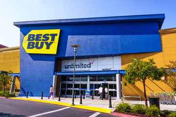 August 19, 2018 Mountain View / CA / USA - Best Buy shop entrance to one of their locations in south San Francisco bay area