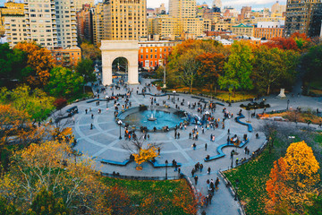 Aerial view of Washington square park in Greenwich village, lower Manhattan in New York city  Wall mural