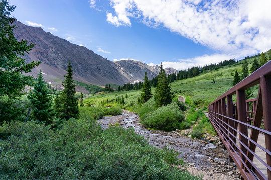 Beautiful alpine stream with bridge, Gray's Peak Colorado