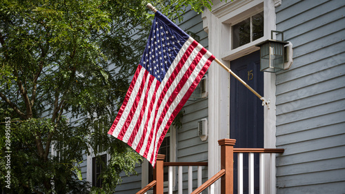American flag in front of a building