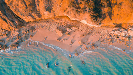 Spoed Fotobehang Oranje eclat Aerial View of Australian Beaches and Coastline of the Great Ocean Road