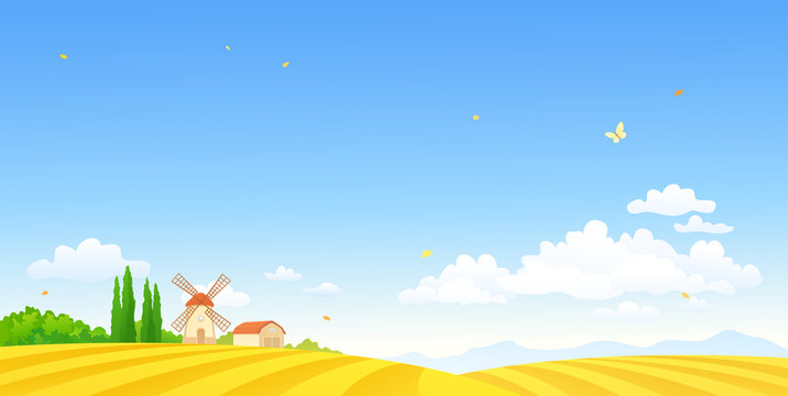 Autumn farm scene with a windmill and fields