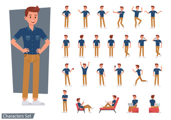 Set of man wear blue jeans shirt character vector design. Presentation in various action with emotions, running, standing and walking. Wall mural