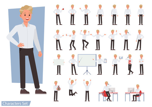 Set of man wear white shirt character vector design. Presentation in various action with emotions, running, standing and walking.