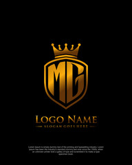Fototapeta initial MG letter with shield style logo template vector obraz