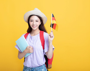 Young asian girl  student showing the  Germany flag