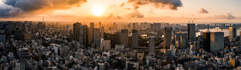 Aerial Drone Photo - Skyline of the city of Tokyo, Japan at sunrise.  Asia