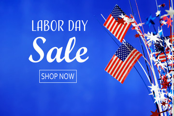 Labor day sale message with flag of the United States