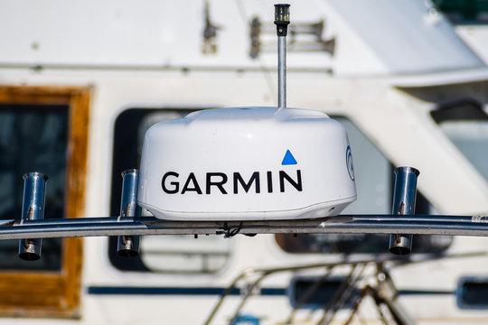November 22, 2018 Moss Landing / CA / USA - Garmin GPS mounted on a boat