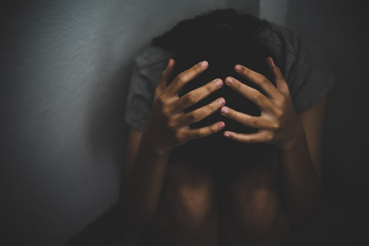 Young girls were detained and tortured in the concept of women in the trafficking of people, the concept of human trafficking, International Women's Day.