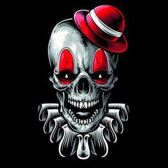 scary skull clown vector art