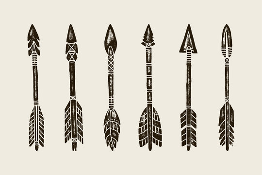 A set Of six Hand Draw Ethnic Indian Arrow. Vector Illustration of hipster Arrows Isolated on White Background