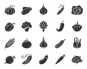 Fototapeta Vegetable food black silhouette icons vector set obraz