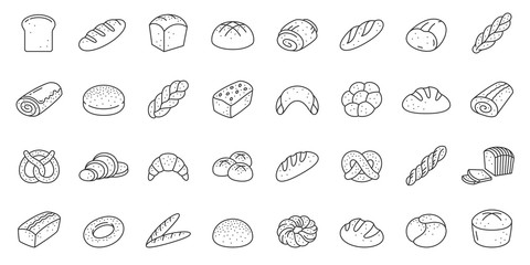 Bread bakery baking loaf thin line icon vector set