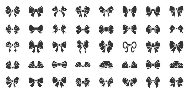 Ribbon bow gift black silhouette icon vector set